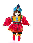 suspended dolls in russian national costumes